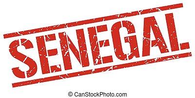 Senegal red square stamp