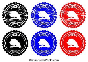 Senegal - rubber stamp - vector, Republic of Senegal map...