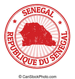 Senegal stamp - Grunge rubber stamp with the name and map of...