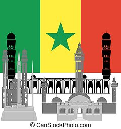 Senegal - State flag and architecture of the country....