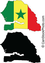 senegal - vector map and flag of Senegal with white...