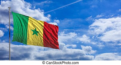 Senegal waving flag on blue sky. 3d illustration