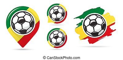 Senegalese football vector icons. Soccer goal. Set of football icons.