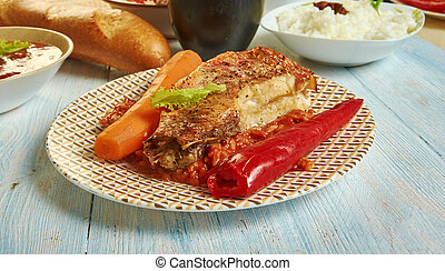 Thieboudienne, Senegalese African cuisine, Traditional assorted Asia dishes, Top view.