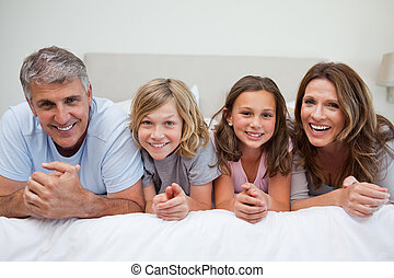 seng, smil, familie, lægge