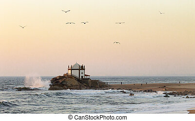 Senhor da Pedra Chapel and Seagulls at Dusk