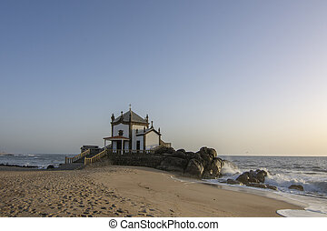 Senhor da Pedra Chapel on the beach of Miramar, Vila Nova de Gaia, Portugal