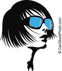 senhora, óculos de sol, jovem