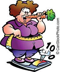 senhora, barriga, gorda
