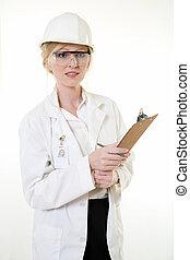 senhora, ciência, engenheiro