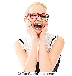 senhora, em, óculos