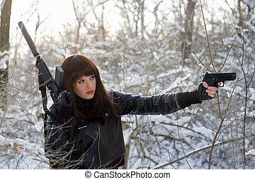 senhora, excitado, armado, jovem, retrato
