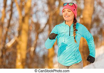 senhora, inverno, exercitar