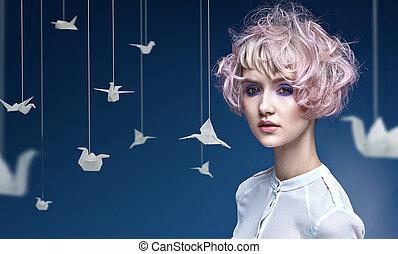 senhora, jovem, coloridos, coiffure