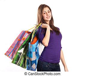 senhora jovem, com, sacolas