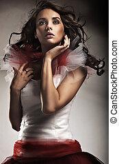 senhora jovem, desgastar, deslumbrante, vestido