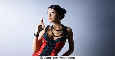 senhora jovem, disparar, moda, excitado