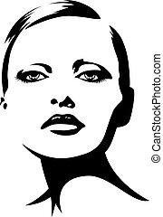 senhora, jovem, ilustração