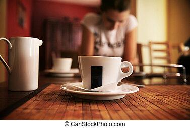 senhora jovem, ligado, um, hora café