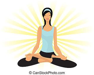 senhora jovem, prática, ioga, em, postura lotus, (padmasana)