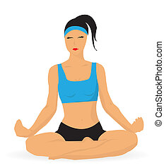 senhora jovem, prática, ioga