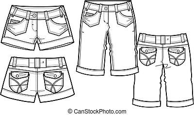 senhora, moda, shorts, em, 2, estilo