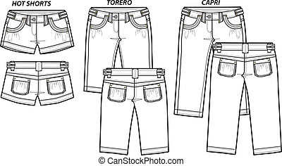 senhora, moda, shorts, em, 3, estilo