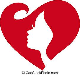 senhora, silueta, femininas, coração vermelho