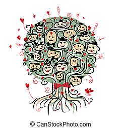 senhoras, árvore, cavalheiros, desenho, Partido, seu