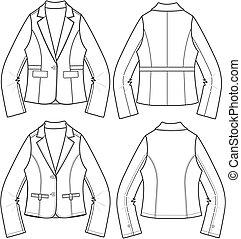 senhoras, blazer, jaquetas, em, 3, estilo