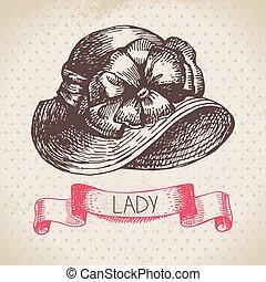 senhoras, experiência., vindima, esboço, mão, elegante, hat., desenhado, mulheres