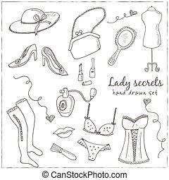 senhoras, jogo, vindima, mão, elegante, desenhado