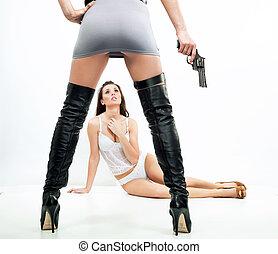 senhoras, violência, -, cena, dois, excitado
