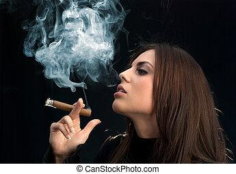 senhorita, excitado, charuto, fumante