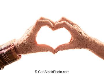 senior összekapcsol, alakítás, szív, noha, kézbesít