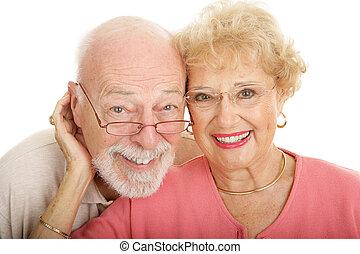 senior összekapcsol, alatt, szemüveg