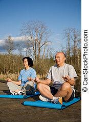senior összekapcsol, gyakorlás, ázsiai