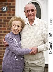 senior összekapcsol, kívül, otthon