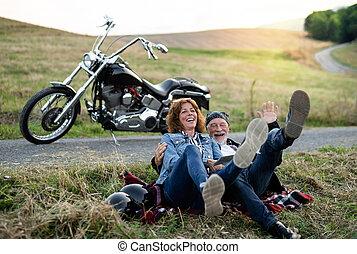 senior összekapcsol, mozgó szerkezetek, motorkerékpár,...