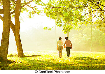 Asian senior mother and adult daughter holding hands walking at outdoor park