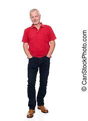 Senior adult - Senior man in front of white background