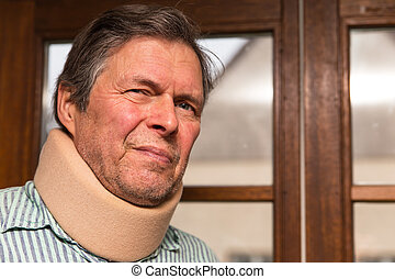 senior adult with neck pain - senior citizen with neck pain