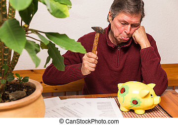 senior adult with piggy bank