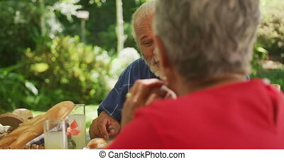 Senior African American couple spending time in garden together, sitting at a dinner table, eating and talking to each other, in slow motion.
