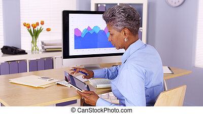 Senior African businesswoman multitasking at desk