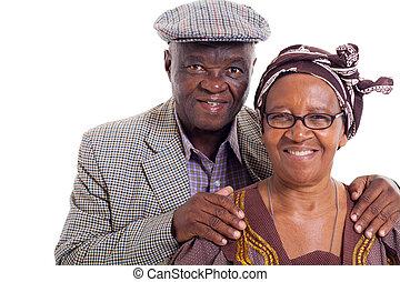 senior african couple portrait - close up portrait of senior...