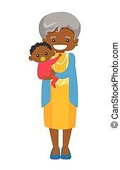 Senior african grandmother holding grandson. - Happy senior...