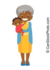 Senior african grandmother holding grandson.