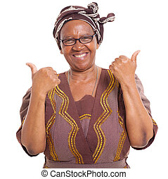 senior african woman giving two thumbs up as sign of...