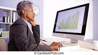 senior, afrikaan, businesswoman, het spreken op de telefoon, en, werkende , in, kantoor